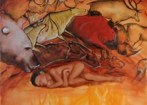 Petit Sapiens par Christophe Stephan Durand Huile sur coton 50x40cm