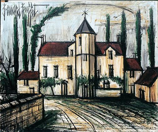 Bernard Buffet: Le Manoir, 1991 - Painting