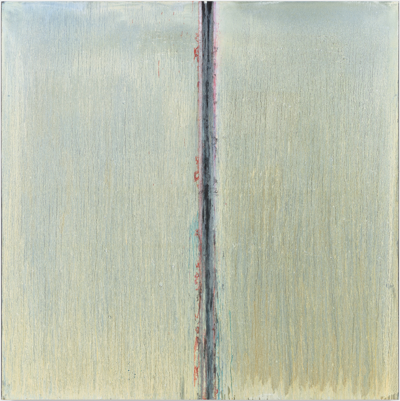 Pat Steir, painting, square, silver, red line, vertical axis, Galerie Thomas Schulte 2019