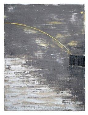Sous le pont Mirabeau 7 09 1. Acrylique et pigments, 130 cm x 97 cm.