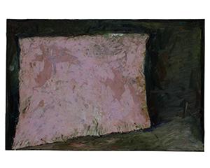 Toile rose oblique dans un lieu, 2019. Huile et tissu sur toile, 97x146cm.