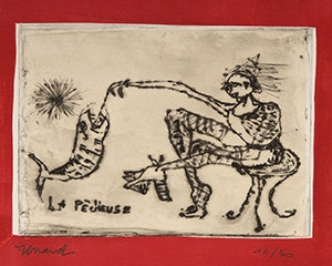 La Pêcheuse, 2008. Gravure au carborundum, 30 x 30 cm.