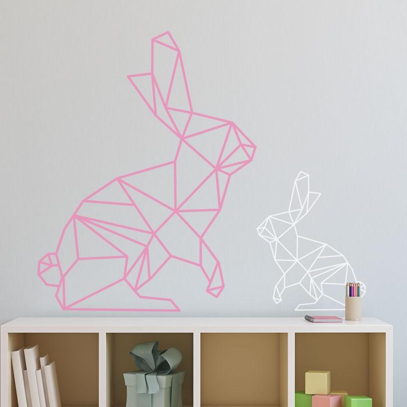 Stickers Lapin Gomtrique Dcoration Murale Origami Enfant