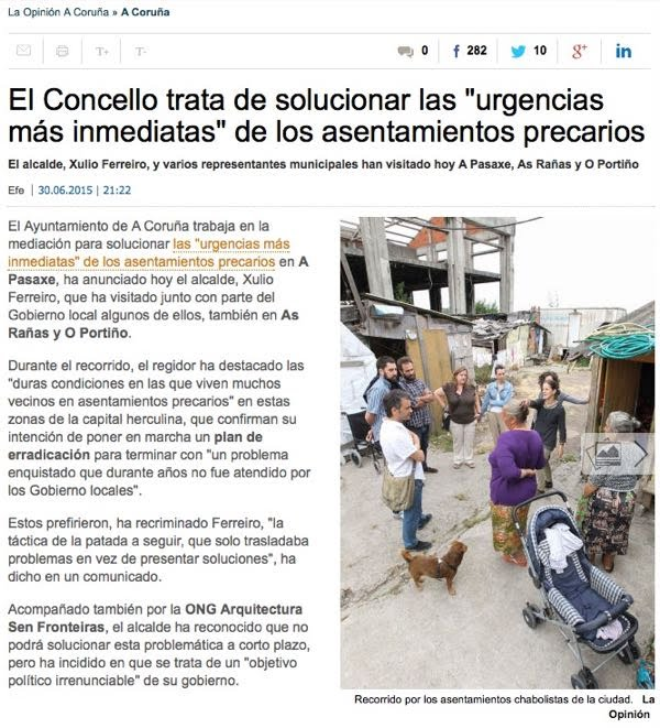Nota de Arquitectura Sen Fronteiras sobre a visita realizada o pasado 30 de xuño 2015 aos asentamentos precarios de A Coruña acompañando á corporación municipal do Concello de A Coruña