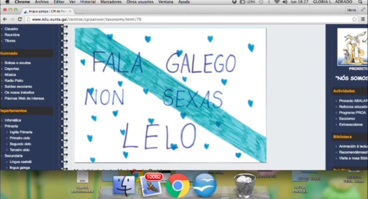 Cartel sobre o uso do galego que está nun centro de Panxón e do que Galicia Bilingüe pide a súa retirada