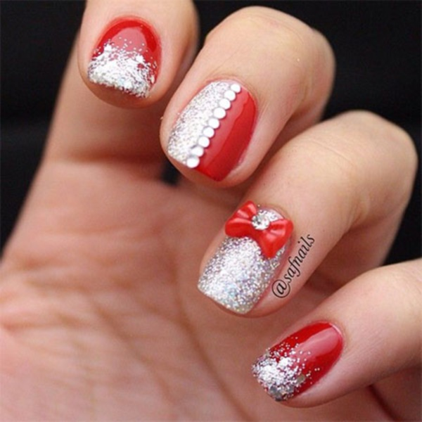 Red Glossy Nails With Golden Strip Design Nail Art