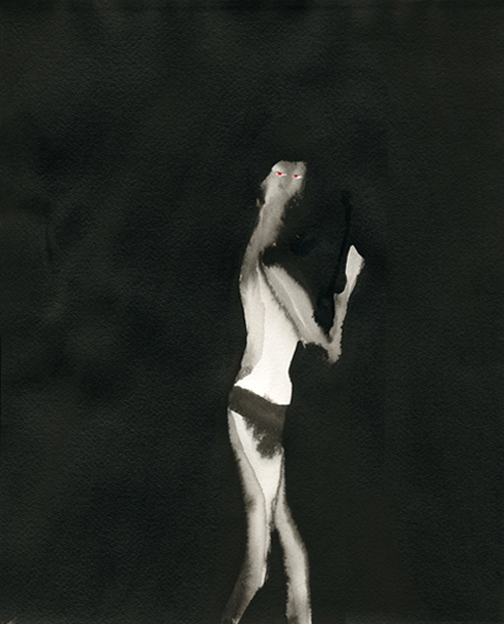 Erimielisyys, 2014, muste, vesiväri ja kollaasi paperille