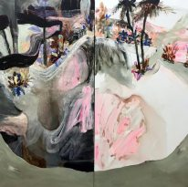 Juliana Hyrri: Ongelmia paratiisissa, akryyli kankaalle, 140x140cm (yhteismitta, diptyykki), 2019