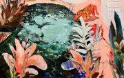 Juliana Hyrri: Raidalliset uimapuvut kaakeliviidakossa, akryyli kankaalle, 70x110cm, 2019