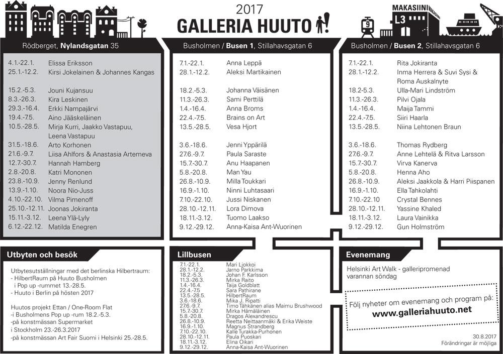 Huuto utställningskalendern 2017