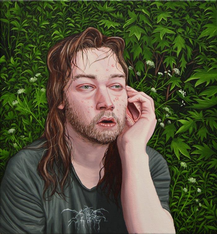 Joel Slotte: Simpukankuuntelija / Giving an ear to a seashell / Snäcklyssnaren, öljy kankaalle / Oil on canvas / Olja på duk, 50 x 46 cm, 2018