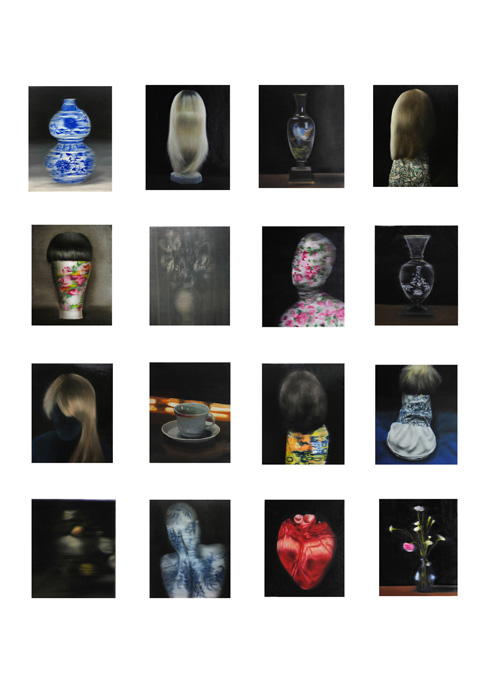 Leonor Ruiz Dubrovin: Installation Coexistence, oil on canvas, each painting measures 46 x 38 cm, 2021