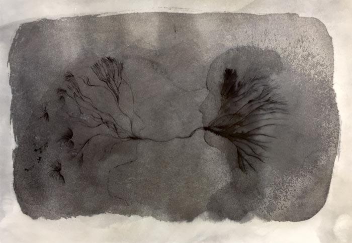 Eveliina Hämäläinen: MIRROR MIST, ink on paper, 26 x 36 cm, 2019
