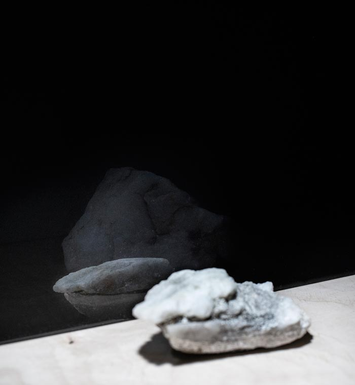 Maija Laurinen: To where I cannot follow (detail), acrylic glass, found objects, light, 2018