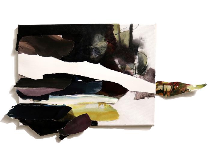 Päivi Allonen: Maiseman jatkopala, 2020, kollaasi kankaalle, 34 x 60 cm