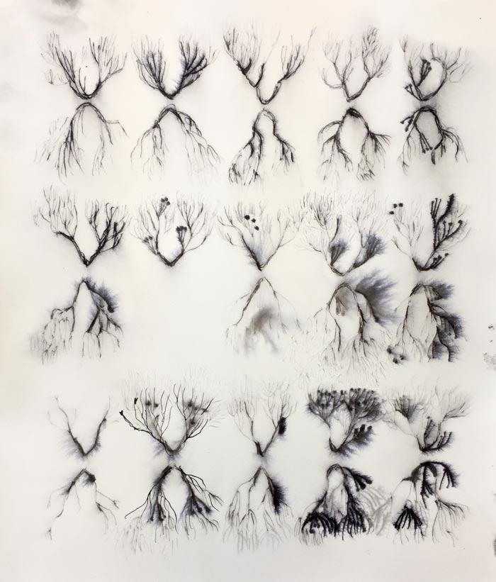 Eveliina Hämäläinen: RIVER IN ME, ink on paper, 29 x 26 cm, 2019