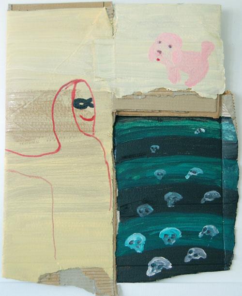 Johannes Kangas: Punainen fantom kävelyllä vaaleanpunaisen koiran kanssa