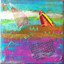 It's Out There - Acrylic & Mixed Media 5 x 5 inches