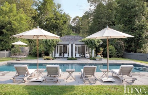 Luxurious outdoor space with sun lounges and pool. Friday's Favourites Gallerie B blog