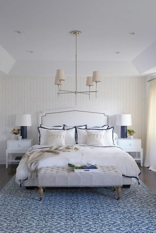 Blue and white master bedroom. Friday's Favourites.