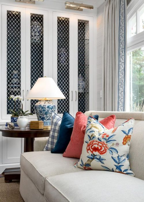 So much to love in this image. Curtain trim, library scones, coral and navy. Friday's Favourites.
