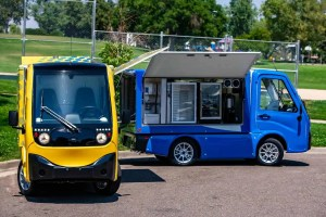 Red and blue e-vehicles