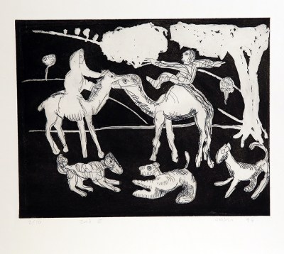 Camel Riders with Dogs by John Kiki
