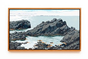 "North Sea Rocks Oil on canvas 44"" x 26"" (framed)