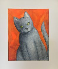 "Happy Cat, 2019 Watercolor 8"" x 10"" matted in 11"" x 14"" frame