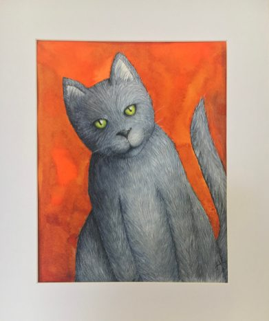 """Happy Cat, 2019 Watercolor 8"""" x 10"""" matted in 11"""" x 14"""" frame $130.00"""