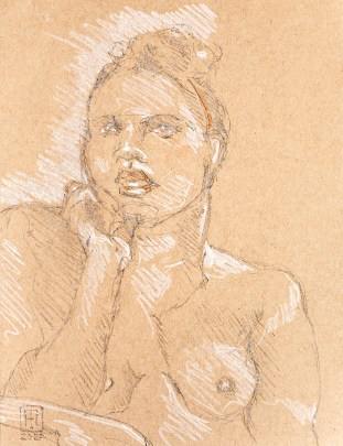 Dee 20 minute pose, hand on face, 2020 Graphite $95.00