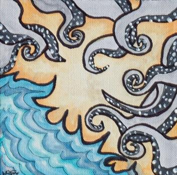 Wonderous Sea, 2021 Watercolor, marker, paint Stretched canvas $25.00