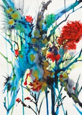 Exuberant Watercolor, acrylic ink Matted and framed Sold!