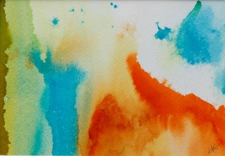 Abstract Orange II Watercolor Matted and framed $45.00