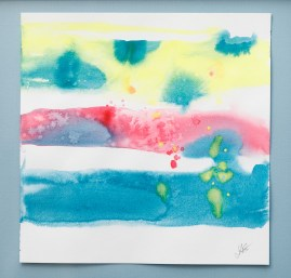 """Three, 2021 Watercolor 12"""" x 12"""" Framed $110.00"""