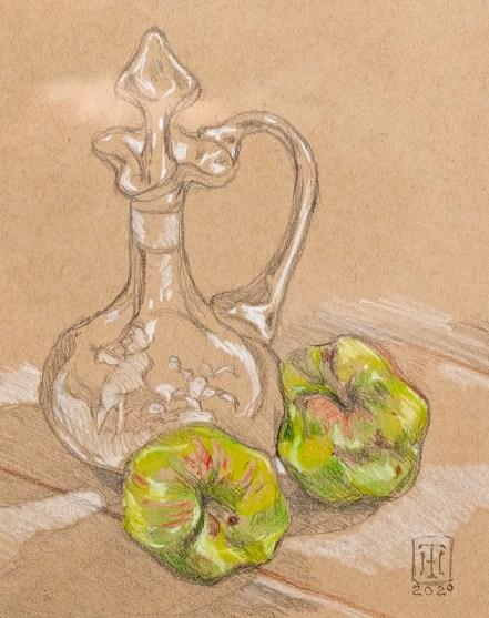 Apples Coolidge Site Vermont Prismacolor Matted & framed $125.00