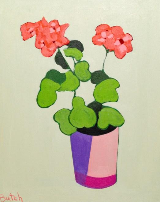 Henri's Geraniums Acrylic $300.00