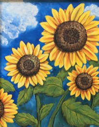 "Sunshine's Reward, 2006 Acrylic 18"" x 24"" framed $150.00"
