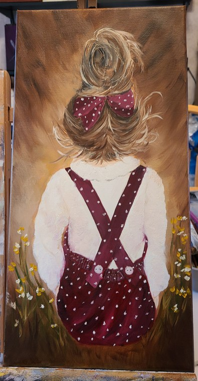 """Girl with Polka-dots Oil on canvas 10"""" x 20"""" $185.00"""