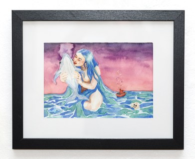 From the Ocean Personified Series: Maternal Watercolor Matted, framed Sold!