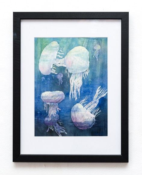 Sunny Jellies Watercolor Matted, framed $150.00