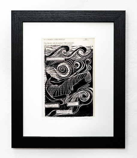 Sea Perils & Defeat, A Nautical Poem Found poem and linocut Sold!