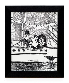 A Whale's Tail Pen & ink Framed $70.00