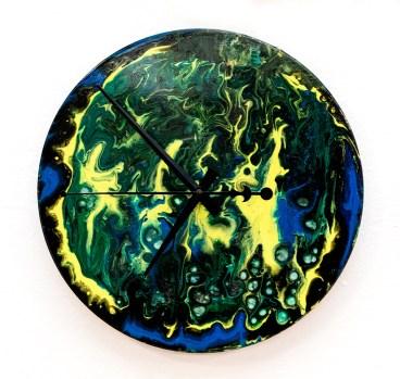 Julee Galitsky The Abyss, 2021 Acrylic on vinyl record (clock) $125