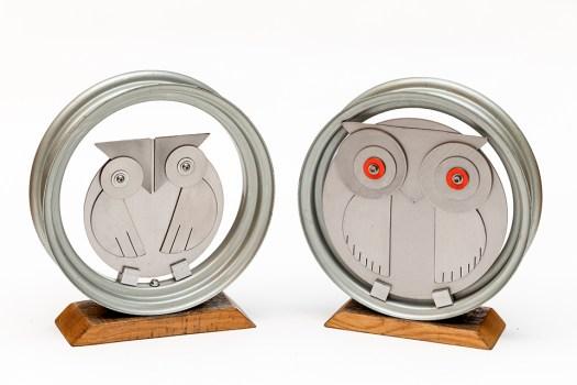 Timothy Michael Hetland Parliament of Owls Metal sculpture $850/pair