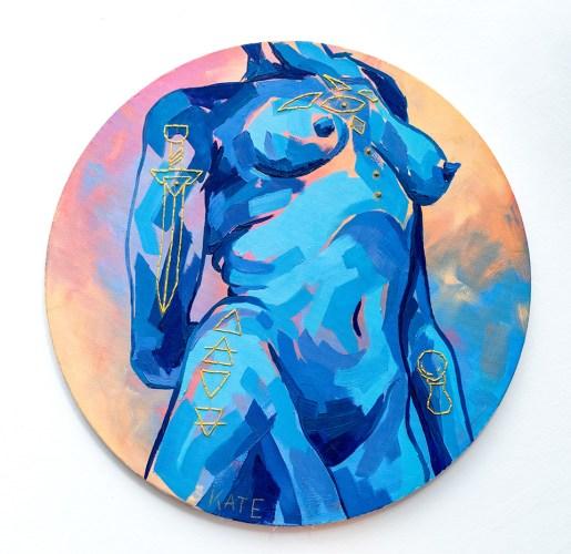 Kate Korra Blue Nude Figure, 2021 Oil & embroidery on canvas SOLD!