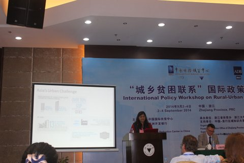 Ramola presenting a paper on urban-rural linkages at the International Policy Workshop in Rural–Urban Poverty Linkages, People's Republic of China.