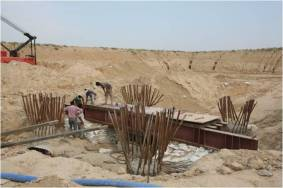 In progress of the construction