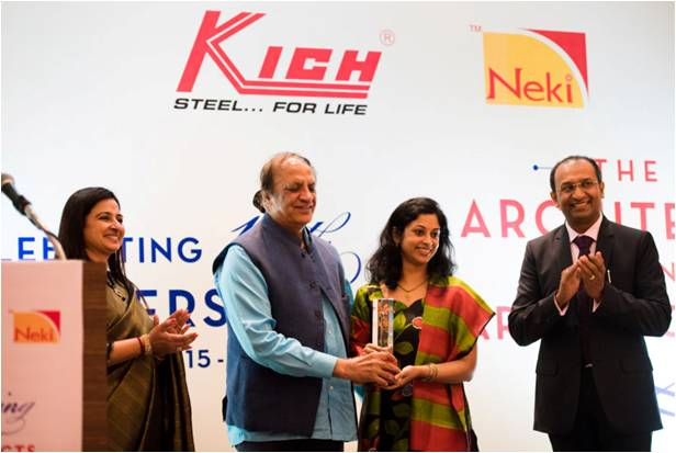 Receiving award for Excellence in Architectural Journalism from Ar. Prem Nath in Mumbai