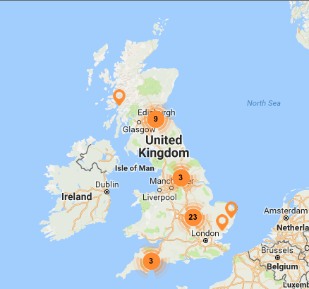 "The UK map of Living Wage employers ""events"" catagory"